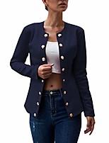 cheap -listha blazers womens daily double-breasted blazer long sleeve jacket ladies office wear coat dark blue
