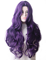 cheap -Wavy Purple Synthetic Wig Long Hair Colored Cosplay Wigs For Women Female Grey Green Pink Red Dark Brown Black Blue