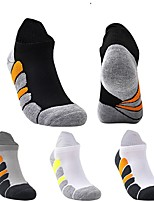 cheap -Men's Hiking Socks 1 Pair Outdoor Soft Stretchy Sweat wicking Comfortable Socks Patchwork Chinlon White Black Grey for Hunting Fishing Climbing