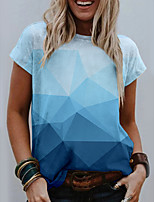 cheap -Women's T shirt Graphic Geometric Print Round Neck Tops Basic Basic Top Blue