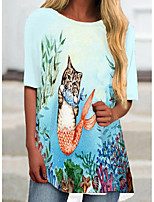 cheap -Women's T Shirt Dress Tee Dress Short Mini Dress White Blue Royal Blue Short Sleeve Cat Animal Print Spring Summer Round Neck Casual 2021 S M L XL XXL 3XL