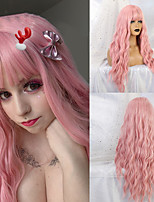 cheap -Synthetic Wig Deep Wave Neat Bang Wig Medium Length A9 Synthetic Hair Women's Cosplay Party Fashion Pink