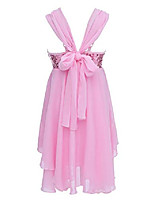 cheap -Girls Chiffon Sequins Ballet Dance Gymnastics Dress Kids Lyrical Dress Irregular Leotard Skirt Pink 8