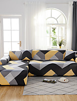cheap -Yellow and Grey Geometric Print Dustproof All-powerful Slipcovers Stretch L Shape Sofa Cover Super Soft Fabric Couch Cover with One Free Pillow Case