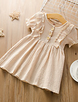 cheap -Kids Little Girls' Dress Solid Colored Ruffle Beige Short Sleeve Active Dresses Summer Regular Fit 2-6 Years