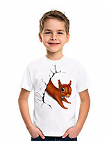 cheap -Kids Boys' T shirt Short Sleeve Animal Daily Wear Print Children Summer Tops Active Regular Fit White 4-12 Years