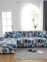 cheap -Blue Leaves Print Dustproof All-powerful Slipcovers Stretch L Shape Sofa Cover Super Soft Fabric Couch Cover with One Free Pillow Case