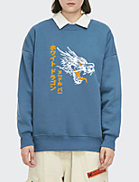 cheap -Women's Pullover Sweatshirt Dragon Letter Print Daily Other Prints Basic Hoodies Sweatshirts  White Blue Blushing Pink