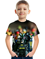 cheap -Kids Boys' T shirt Tee Short Sleeve Graphic Children Summer Tops Active Rainbow 3-12 Years