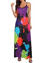 cheap -Women's Swing Dress Maxi long Dress White Blue Purple Orange Rainbow Sleeveless Print Print Spring Summer Round Neck Sexy 2021 S M L XL XXL