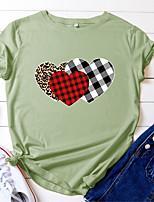 cheap -Women's T shirt Check Heart Print Round Neck Tops 100% Cotton Basic Basic Top White Black Blue