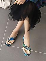 cheap -Women's Sandals Boho Bohemia Beach Chunky Heel Square Toe PU Synthetics White Yellow Blue