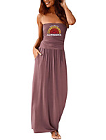 cheap -Women's Sheath Dress Maxi long Dress Black Purple Red Wine Army Green Dusty Rose Green Royal Blue Dark Gray Navy Blue Sleeveless Rainbow Letter Summer Strapless Formal 2021 S M L XL XXL
