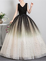 cheap -Ball Gown Luxurious Elegant Quinceanera Prom Dress V Neck Sleeveless Floor Length Tulle with Sequin Appliques 2021