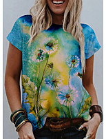 cheap -Women's T shirt Graphic Floral Print Round Neck Tops Basic Basic Top Blue Green Light Green