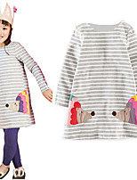 cheap -Kids Little Girls' Dress Striped Print Gray Knee-length Long Sleeve Active Dresses Summer Regular Fit 2-6 Years