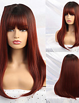cheap -Long Ombre Black Wine Red Straight Synthetic Wigs for Black Women Hair Cosplay Wigs Heat Resistant Fiber Bobo Cosplay