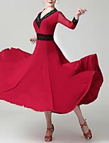 cheap -Ballroom Dance Dress Lace Pleats Women's Training Performance 3/4 Length Sleeve Natural Chinlon
