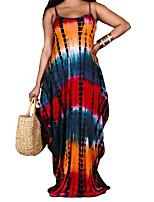 cheap -Women's Strap Dress Maxi long Dress Blue Purple Red Yellow Orange Sleeveless Print Tie Dye Print Summer Boat Neck Sexy 2021 S M L XL XXL 3XL