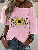 cheap -Women's T shirt Graphic Round Neck Tops Basic Basic Top White Blushing Pink Gray