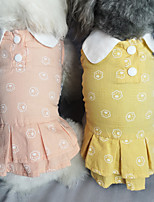 cheap -Dog Cat Dress Cartoon Basic Elegant Cute Dailywear Casual / Daily Dog Clothes Puppy Clothes Dog Outfits Breathable Yellow Pink Costume for Girl and Boy Dog Cotton XS S M L XL XXL