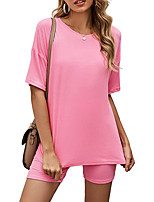 cheap -Women's Home Cotton Normal Leisure Crew Neck Loungewear Short Sleeve Stylish Spring & Summer Solid Color S Black