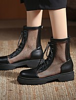 cheap -Women's Boots Platform Round Toe Mid Calf Boots Microfiber Lace-up Solid Colored Black Beige / Knee High Boots