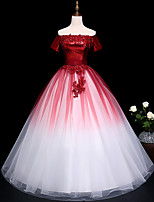 cheap -Ball Gown Glittering Luxurious Quinceanera Prom Dress Off Shoulder Short Sleeve Floor Length Tulle with Pleats Sequin Appliques 2021