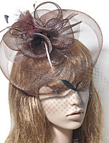 cheap -Elegant Retro Tulle Fascinators with Feather / Flower 1 Piece Special Occasion / Party / Evening Headpiece