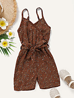 cheap -Kids Toddler Girls' Overall & Jumpsuit Polka Dot Print Brown Active 2-8 Years