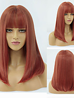 cheap -Synthetic Wig Natural Straight Neat Bang Wig Short A9 Synthetic Hair Women's Cosplay Party Fashion Red Blunt Cut Bob