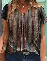 cheap -Women's T shirt Striped Graphic Print V Neck Tops Basic Basic Top Brown