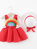 cheap -Toddler Little Girls' Dress Rainbow Print Red Yellow Blushing Pink Knee-length Sleeveless Regular Dresses Summer Loose 2-4 Years