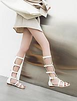 cheap -Women's Sandals Boho Bohemia Beach Roman Shoes Gladiator Sandals Chunky Heel Peep Toe PU Synthetics White