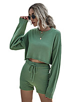 cheap -Women's Basic Streetwear Plain Daily Two Piece Set Tracksuit T shirt Loungewear Shorts Biker Shorts Drawstring Tops