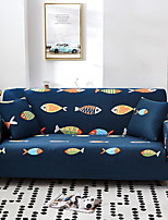 cheap -Cartoon Fish Print Dustproof All-powerful Slipcovers Stretch Sofa Cover Super Soft Fabric Couch Cover with One Free Pillow Case