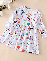 cheap -Kids Little Girls' Dress Polka Dot Print White Long Sleeve Active Dresses Summer Regular Fit 2-6 Years