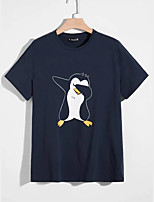 cheap -Men's Unisex T shirt Hot Stamping Penguin Animal Plus Size Print Short Sleeve Casual Tops 100% Cotton Basic Casual Fashion Navy Blue