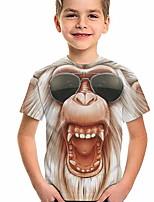cheap -Kids Boys' T shirt Short Sleeve Orangutan Animal Daily Wear Print Children Summer Tops Active Regular Fit Brown 4-12 Years