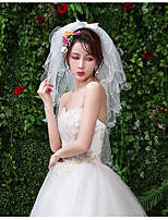 cheap -Four-tier Sweet Style Wedding Veil Shoulder Veils with Pattern Tulle