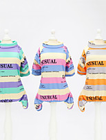 cheap -Dog Cat Shirt / T-Shirt Jumpsuit Striped Basic Adorable Cute Dailywear Casual / Daily Dog Clothes Puppy Clothes Dog Outfits Breathable Fuchsia Orange Green Costume for Girl and Boy Dog Polyster S M L