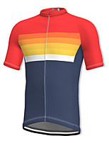 cheap -21Grams Men's Short Sleeve Cycling Jersey Spandex Red Gradient Bike Top Mountain Bike MTB Road Bike Cycling Breathable Quick Dry Sports Clothing Apparel / Athleisure
