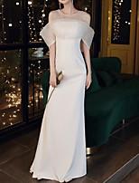 cheap -Mermaid / Trumpet Minimalist Elegant Prom Formal Evening Dress Illusion Neck Half Sleeve Sweep / Brush Train Stretch Fabric with Sleek Sequin 2021