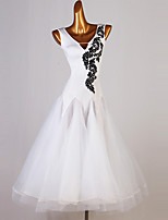 cheap -Ballroom Dance Dress Appliques Split Joint Crystals / Rhinestones Women's Training Sleeveless Chinlon Organza