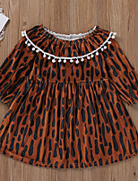 cheap -Kids Toddler Little Girls' Dress Leopard Print Brown Long Sleeve Active Dresses Summer Regular Fit 2-6 Years