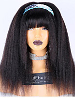 cheap -WoWEbony Brazilian Remy Hair Kinky Straight Headband Wigs With Free Bangs and Free Head Band