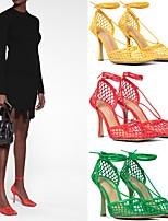 cheap -Women's Sandals Stiletto Heel Square Toe PU Synthetics Black Yellow Red