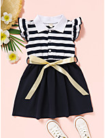 cheap -Kids Toddler Little Girls' Dress Black & White Striped Patchwork Royal Blue Short Sleeve Active Dresses Summer Regular Fit 2-6 Years