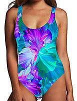 cheap -Women's One Piece Monokini Swimsuit Tummy Control Print Color Block Floral Blue Swimwear Bodysuit Strap Bathing Suits New Fashion Sexy