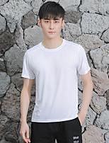 cheap -Men's T shirt Hiking Tee shirt Short Sleeve Tee Tshirt Top Outdoor Quick Dry Lightweight Breathable Sweat wicking Autumn / Fall Spring Summer POLY Dark Grey White Black Hunting Fishing Climbing